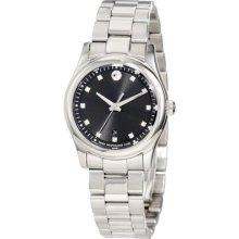 Movado Ladies 0606497 Sportivo Diamond Black Museum Dial Dress Watch