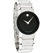 Movado Sapphire Mens Black Museum Stainless Steel Swiss Quartz Watch 0605063 *