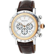 Nautica Men's Chronograph Stainless Steel Case Leather Bracelet Silver Tone Dial N15006G