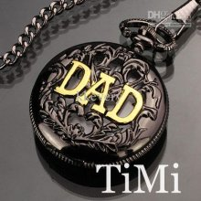 New Black Sliver Men's Quartz Pocket Watch Dad Gift Hotsale