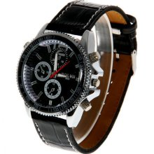 new mens Bolun 2393 dress watch w/ black face chrome numbers and leather band