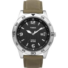 New TIMEX Mens Black Analog Round Steel Watch Indiglo Green Leather Strap Quartz