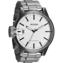 Nixon Men's Chronicle SS Sanded Steel/White Watch