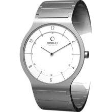 Obaku Harmony Mens Ultra Slim Stainless Watch - Silver Bracelet - White Dial - V133LCISC