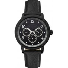 Original Penguin Men's Quartz Watch With Black Dial Analogue Display And Black Leather Strap Op5008bk