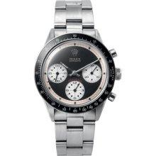 Paul Newman Rolex Daytona Watch Silver Band Black Dial