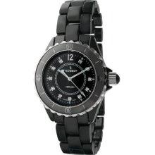 Peugeot Women's Swiss Ceramic Black Sport Bezel Watch (Swiss Ceramic Swarovski Crystal Black Dial Watch)