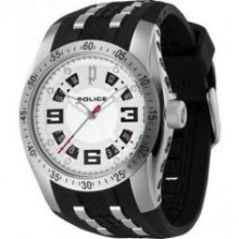 Police Top Gear-X Quartz Mens Silver Dial Analog Sports Watch PL12892J