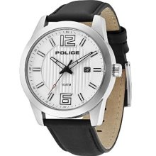 Police Trophy Men's Quartz Watch With Silver Dial Analogue Display And Black Leather Strap 13406Js/04