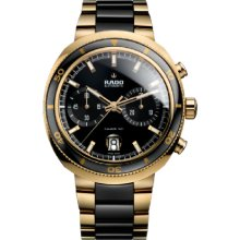 Rado D-Star 200 Auto Chrono Gold 44mm Watch - Black Dial, Steel and Ceramic Bracelet R15967162 Chronograph Sale Authentic