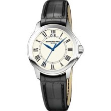 Raymond Weil Tradition White Dial Stainless Steel Black Leather Mens Watch 5476-STC-00300