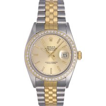 Rolex Datejust 2-Tone Steel Gold with Diamond Bezel Men's Watch 16013