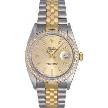 Rolex Datejust 2-Tone Steel Gold with Diamond Bezel Men's Watch 16013