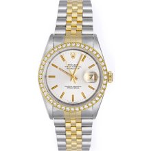 Rolex Datejust 2-Tone Men's Watch 16013 Custom Diamond Bezel