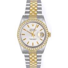 Rolex Datejust 2-Tone Men's Watch 16013 Custom Diamond Bezel