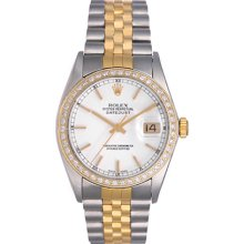 Rolex Datejust 2-Tone Custom Diamond Bezel Men's Watch 16013