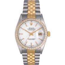 Rolex Datejust 2-Tone Custom Diamond Bezel Men's Watch 16013
