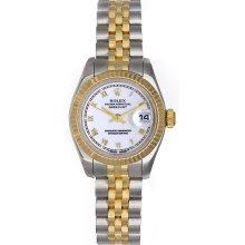 Rolex Datejust Ladies 2-Tone Watch 179173 White Dial