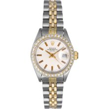 Rolex Ladies Date 2-Tone Watch With Diamond Bezel 6917 Silver Dial