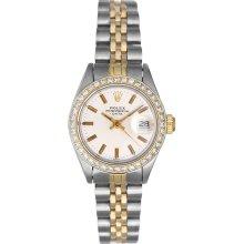 Rolex Ladies Date 2-Tone Watch With Diamond Bezel 6917 Silver Dial