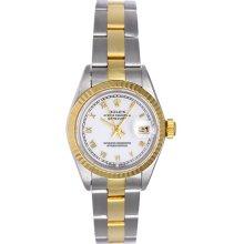 Rolex Ladies Datejust 2-Tone Watch 69173 White Dial
