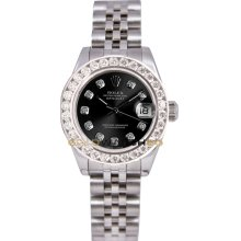 Rolex Ladys New Style Heavy Band Stainless Steel Datejust Model 179174 Jubilee Band Custom Added Black Diamond Dial & 2Ct Diamond Bezel