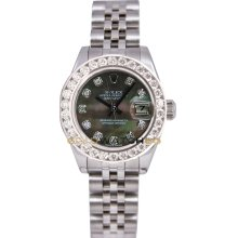 Rolex Ladys New Style Heavy Band Stainless Steel Datejust Model 179174 Jubilee Band Custom Added Tehetian Mother Of Pearl Diamond Dial & 2Ct Diamond Bezel