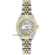 Rolex Ladys Watch Ss & Gold Datejust 6917 Mop String Diamond Dial 18k Gold Bezel