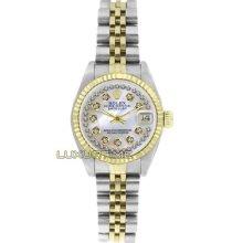 Rolex Ladys Watch Ss & Gold Datejust 6917 Mop String Diamond Dial 18k Gold Bezel