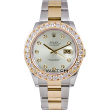 Rolex Mens New Style Heavy Band Stainless Steel & 18K Gold Datejust Model 116233 Oyster Band Custom Added Silver Diamond Dial & 3.5Ct Diamond Bezel