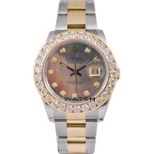 Rolex Mens New Style Heavy Band Stainless Steel & 18K Gold Datejust Model 116233 Oyster Band Custom Added Tehetian Mother Of Pearl Diamond Dial & 3.5Ct Diamond Bezel