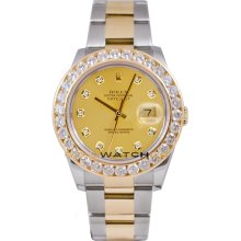 Rolex Mens New Style Heavy Band Stainless Steel & 18K Gold Datejust Model 116233 Oyster Band Custom Added Champagne Diamond Dial & 3.5Ct Diamond Bezel
