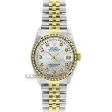 Rolex Mens Ss & Gold Datejust 16013 Mop String Diamond Dial & 1ct Diamond Bezel