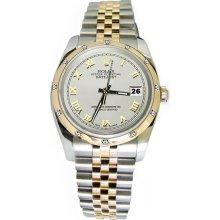 Rolex pearlmaster diamond bezel white roman dial date just watch