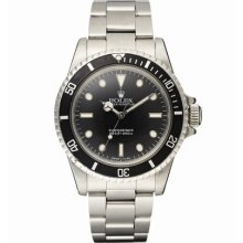 Rolex Submariner Non-Date 5513 Oyster Bracelet Watch Silver Band Black