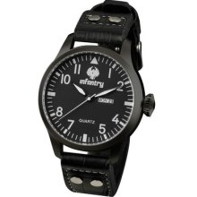 Royale Infantry Mens Army Date Day Quartz Analogue Watch Black Leather Strap