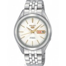 Seiko 5 Automatic Mens Watch White/Silver Dial with SNKL17