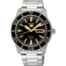 Seiko 5 Sports Snzh57j1 Automatic Black & Gold Dial Watch Japan Made 100m