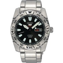 Seiko 5 Sports Srp165 Men's Stainless Steel Black Dial 24 Jewels Automatic Watch