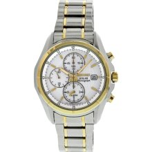 Seiko 5 White Dial Two Tone Stainless Steel Mens Watch SSC002