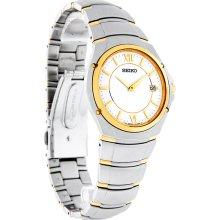 Seiko Accolade Mens White Date Dial Two Tone Dress Quartz Watch SLK092
