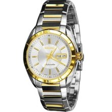 Seiko Automatic Two Tone Silver Dial Mens Dress Watch Srp176j1 Srp176