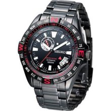 Seiko Black and Red Dial Black PVD Stainless Steel Mens Watch SSA113