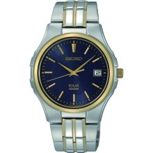Seiko Blue Dial Two Tone Stainless Steel Band Mens Solar Watch