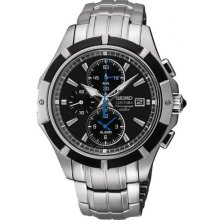 Seiko Coutura Chronograph Stainless Steel Alarm 41mm Mens Watch SNAF11