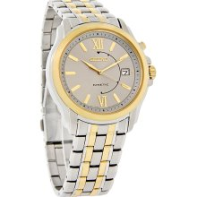Seiko Kinetic Mens Silver Dial Two Tone Stainless Steel Dress Watch SKA472 New