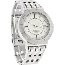 Seiko Kinetic Mens White Date Dial Stainless Steel Bracelet Dress Watch SKH411