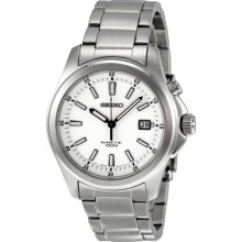 Seiko Kinetic Movement White Dial Stainless Steel Mens Watch SKA461