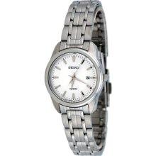Seiko Ladies Stainless Steel Case and Bracelet Quartz White Dial Date Display SXDE63