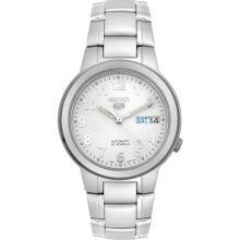 Seiko Men's 5 Automatic SNKA13K Silver Stainless-Steel Automatic Watch with White Dial